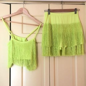 Lime Green Fringe Shorts Set